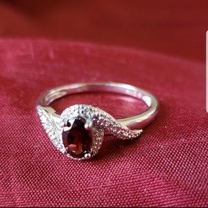 Avon Sterling Silver Garnet Ring